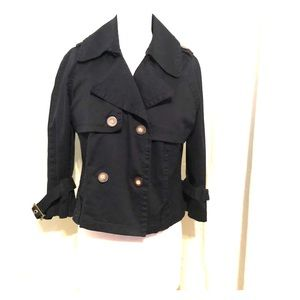 Navy blue double breasted crop trench coat